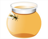 glass pot full of honey and bee isolated on white background