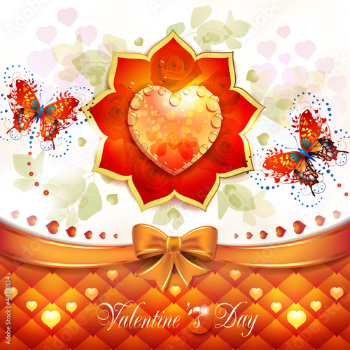 Valentine's day card with hearts and butterflies