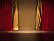 Bühne Prunkvoll Goldener und roter Vorhang