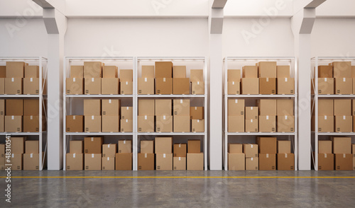 3d rendered warehouse with many stacked boxes on pallets
