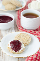 Scone with goat cheese and jam for breakfast