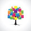 Arbre avec carrés multicolores