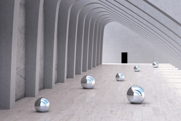 Row of pillars with chrome balls