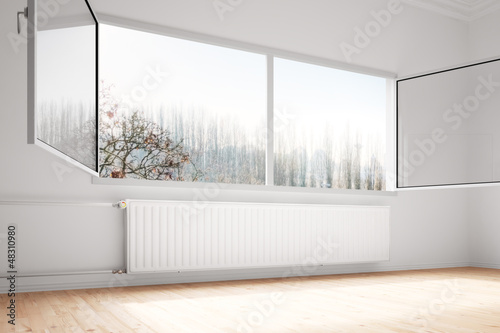 Central heating attachted to wall open windows - 48310980