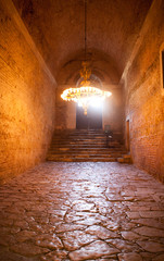 Hagia Sophia Museum Stone way / chandelier Istanbul Turkey
