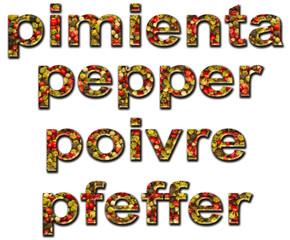 Palabra pimienta escrita en varios idiomas.