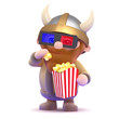 Viking eats popcorn at the movies