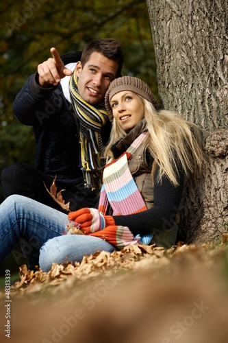 Young couple at autumn