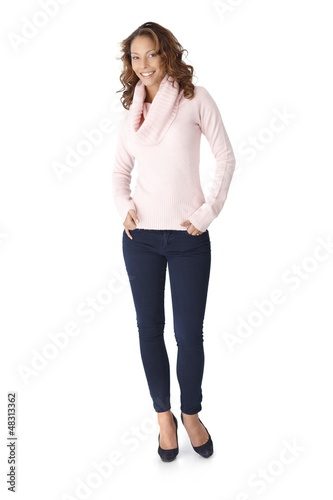 Happy woman in warm pullover full size