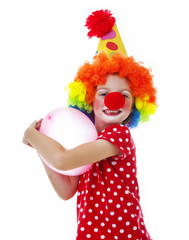 a happy little clown on white background