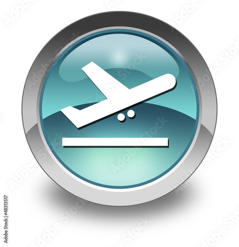 "Light Blue Glossy Pictogram ""Airport Departures"""
