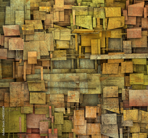 fragmented orange,pink and yellow square tile grunge pattern bac
