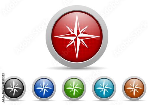 compass vector icon set