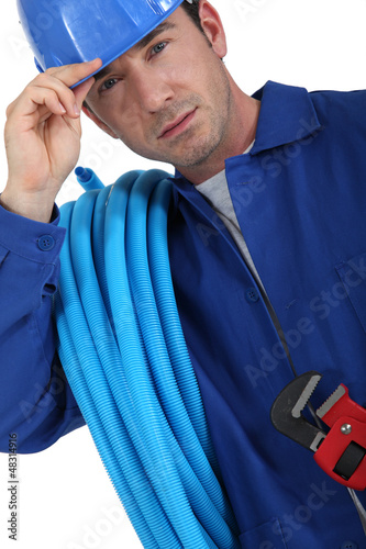 plumber with helmet