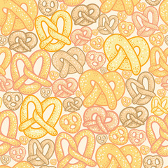 Vector pretzels seamless pattern background with hand drawn