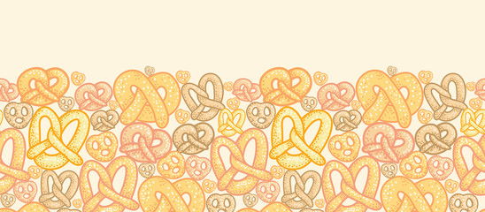 Vector pretzels horizontal seamless pattern background ornament