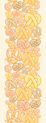 Vector pretzels vertical seamless pattern background ornament