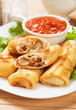 Egg rolls filled with vegetables