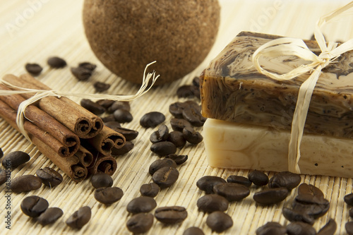 spa still life with natural soap and salt ball