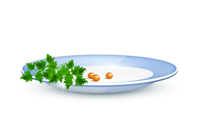 Parsley and red caviar on a plate. Vector illustration.