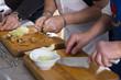 canvas print picture - Köche beim Zerkleinern von Zutaten
