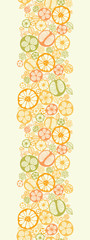 Vector citrus slices vertical seamless pattern background