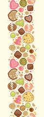 Vector colorful cookies vertical seamless pattern background