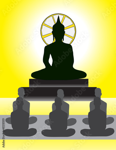 Meditation in Front of Buddha Image