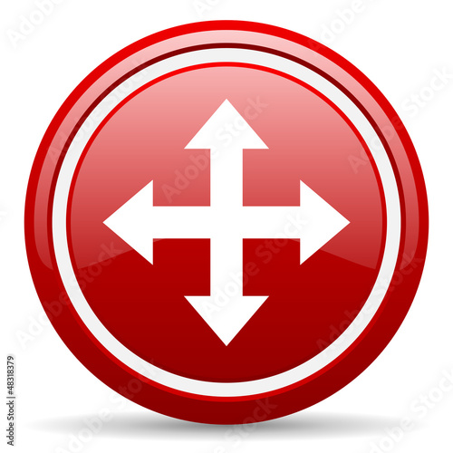 move arrow red glossy icon on white background
