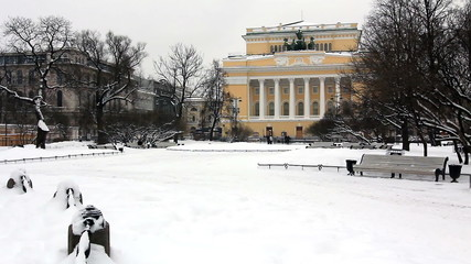 Alexandrinsky Theatre in Winter, St. Petersburg, Russia