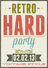 Retro party vector vintage typography poster illustration