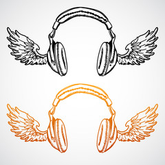 Vector hand drawn concept illustration. Headphones with wings