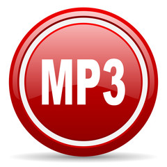 mp3 red glossy icon on white background