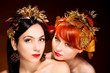 Beautiful Portrait of two womans with luxurious hair style