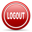 logout red glossy icon on white background