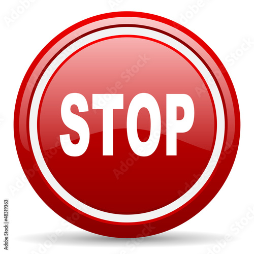 stop red glossy icon on white background