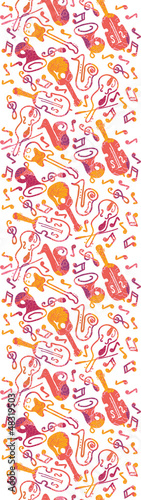 Vector colorful musical instruments seamless pattern background