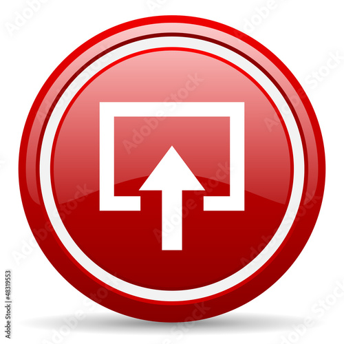 enter red glossy icon on white background