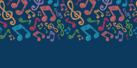 Vector colorful musical notes seamless pattern background with