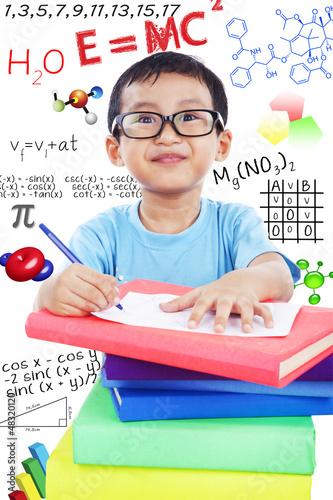 Nerd preschooler study science