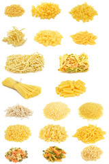 Heap of pasta isolated on white background