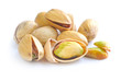 Pistachio nuts on white background