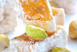 Turkish delight (lokum) with pistachios, closeup poster