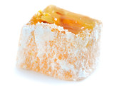 Turkish delight (lokum) on a white background, closeup poster