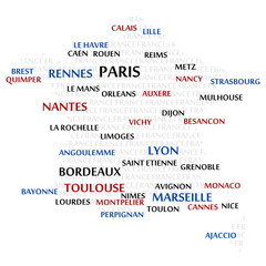 France map made from cities with the country name as background