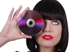 Woman holding CD
