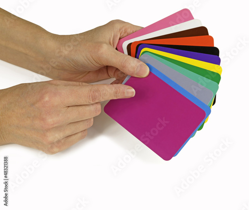 Colour Therapist with colour diagnosis cards