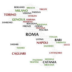 Italy map made from cities with the country name