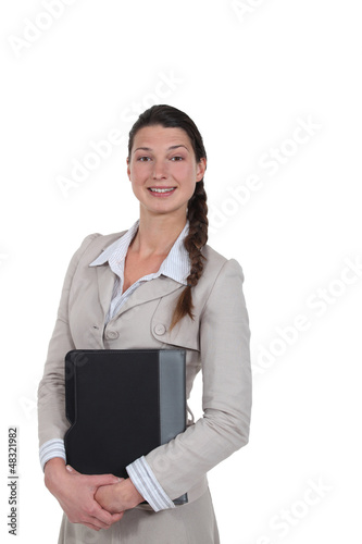 Stylish woman holding a folder