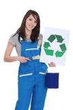 Painter with recycling symbol